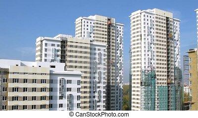bâtiment, bleu, bâtiments, beaucoup, ciel, ascenseurs, stand, sous, nouveau
