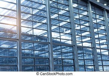 bâtiment, bleu, bureau, mur, contemporain, détail, verre