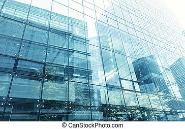 bâtiment, bleu, bureau, mur, détail, verre