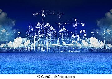 bâtiment, bleu, esquisser, eau, construction, mer, nouveau
