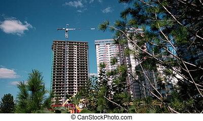 bâtiment, bleu, industriel, béton, appartements, processus, résidentiel, sky., site., grues, construction, gratte-ciel, maison, nouveau, complex.