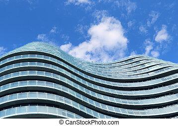 bâtiment, bleu, moderne, ciel, nuageux, verre, contre, fond