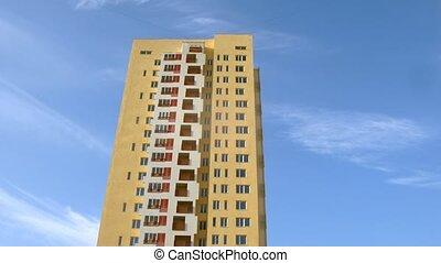 bâtiment, bleu, stands, couleur, haut-ascension, ciel, jaune, contre