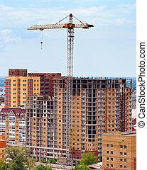 bâtiment, bleu, sur, ciel, construction, fond, sous, grue