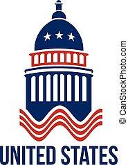 bâtiment, bleu, uni, capitole, etats, logo, blanc rouge