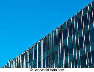 bâtiment, bleu, vitreux, bureau, sky., moderne
