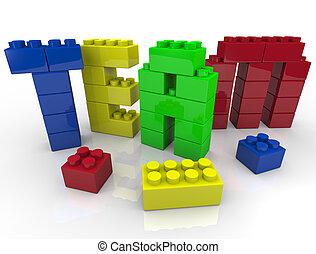 bâtiment, blocs jouet, équipe