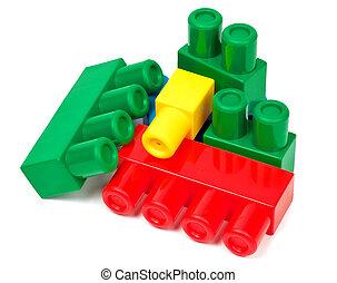 bâtiment, blocs jouet, coloré, fond, blanc