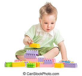bâtiment, blocs jouet, coloré, jouer, gosse
