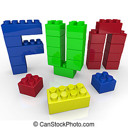 bâtiment, blocs jouet, construit, amusement, mot