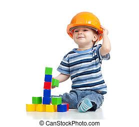 bâtiment, blocs jouet, jouer, gosse