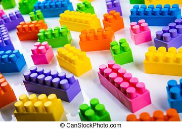 bâtiment, blocs jouet, plastique