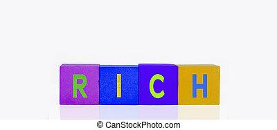 bâtiment, blocs jouet, riche, coloré