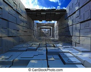 bâtiment, boîtes, abstrac