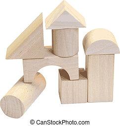 bâtiment, bois, blanc, blocs, fond