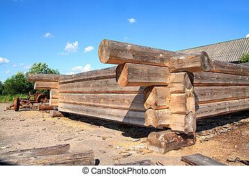 bâtiment, bois, construction, vieux