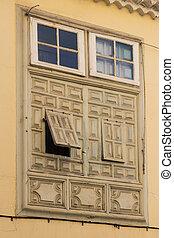 bâtiment, bois, fenêtre, vieux, façade