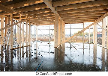 bâtiment, bois, incomplet, plancher, mouillé