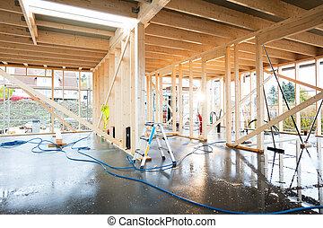 bâtiment, bois, mouillé, incomplet, plancher