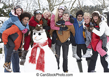 bâtiment, bonhomme de neige, adolescent, groupe, jardin, amis