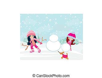 bâtiment, bonhomme de neige, enfants