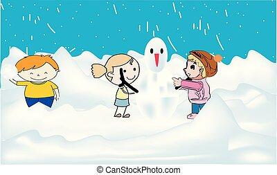 bâtiment, bonhomme de neige, gosses, lancement, snowball., enfants, boule de neige, ensemble, baston, courant, boules neige, forêt, pendant, sauter, confection, avoir, snowfall.