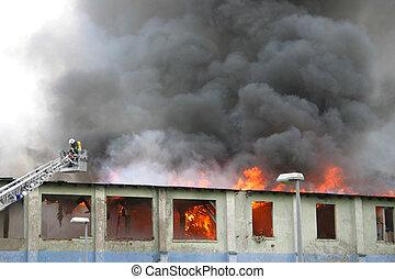 bâtiment, brûler