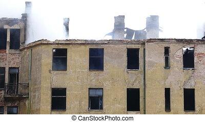 bâtiment, brûler, smouldering, abandonnés, structural