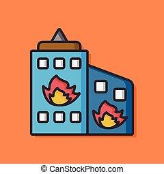 bâtiment, brûler, vecteur, icône