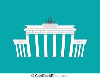 bâtiment, brandenburg, berlin, historique, architecture, repère, portail, germany.