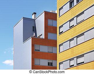 bâtiment, brique concrète, construction, extérieur