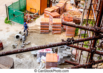 bâtiment, brouette, pencher, ouvrier, industriel, vue, au-dessus, pousser, site