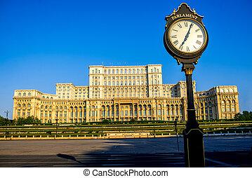 bâtiment, bucharest, parlement
