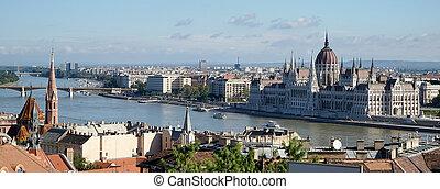 bâtiment, budapest, parlement, vers, vue