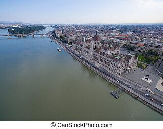 bâtiment, budapest., parlement, vue aérienne