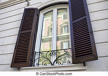 bâtiment, building's, reflet, fenêtre, rome, autre