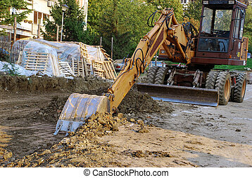 bâtiment, bulldozer, site
