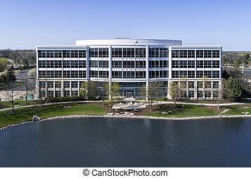 bâtiment bureau, à, étang