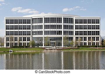 bâtiment bureau, à, lac