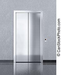 bâtiment, bureau, chrome, métal, ascenseur, fermé