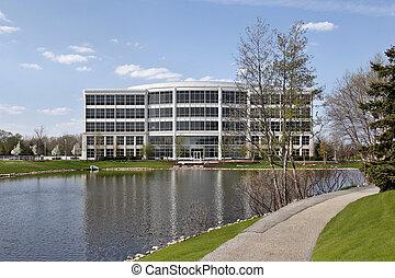 bâtiment bureau, dans, banlieues