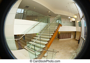 bâtiment, bureau, escalier