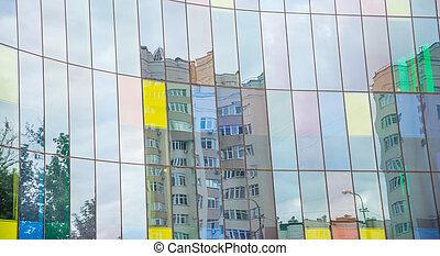 bâtiment, bureau, fenêtre verre, réflexions, façade