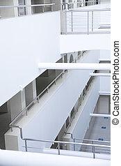 bâtiment, bureau, moderne, détails, intérieur, blanc