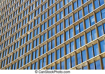 bâtiment, bureau, moderne, gratte-ciel, extérieur, façade