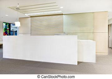 bâtiment, bureau, moderne, lumières, réception, ou