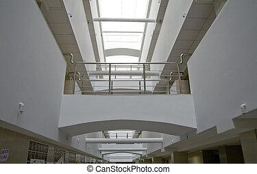 bâtiment, bureau, moderne, métallique, détails, intérieur
