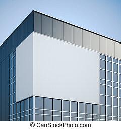 bâtiment, bureau, moderne, vide, pendre, panneau affichage