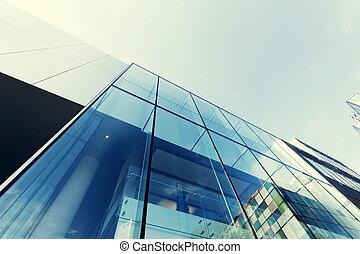 bâtiment, bureau, mur, moderne, verre, extérieur