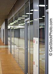 bâtiment, bureau, mur, portes verre, partitions